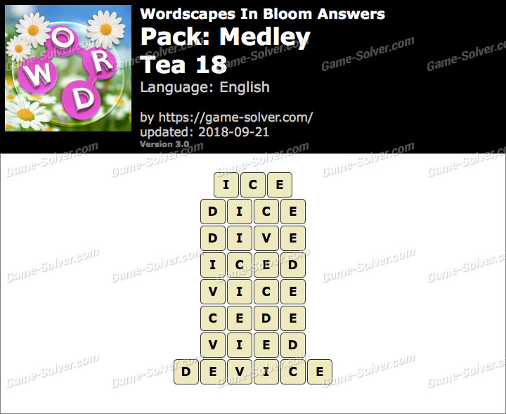 Wordscapes In Bloom Medley-Tea 18 Answers