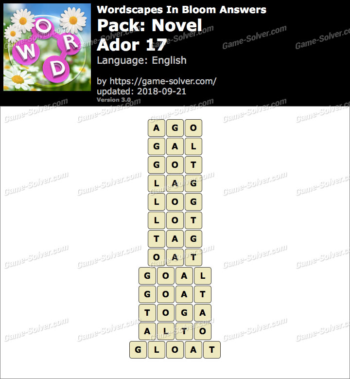 Wordscapes In Bloom Novel-Ador 17 Answers