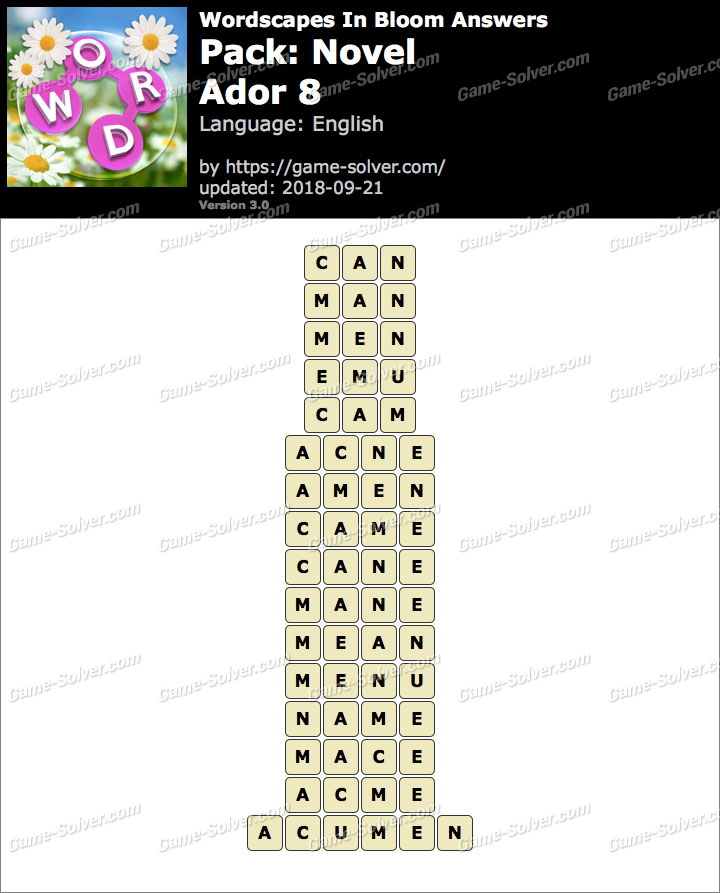 Wordscapes In Bloom Novel-Ador 8 Answers