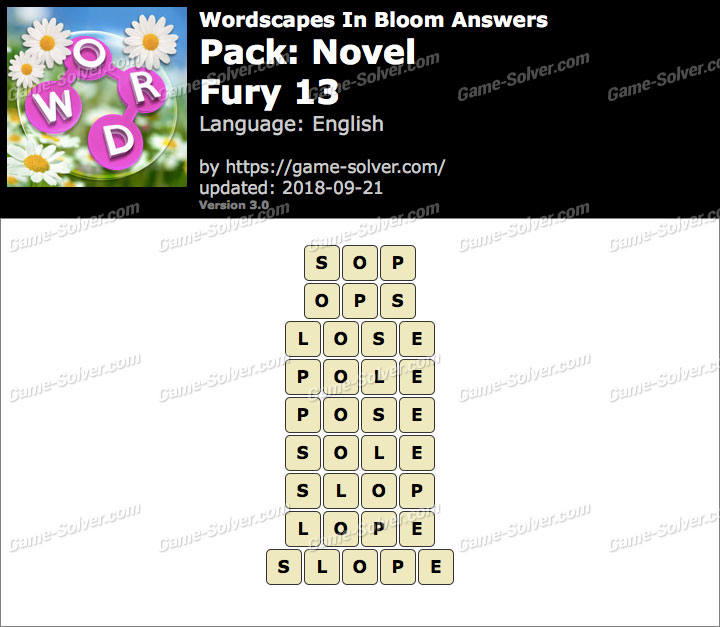 Wordscapes In Bloom Novel-Fury 13 Answers