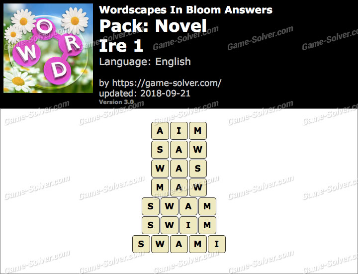 Wordscapes In Bloom Novel-Ire 1 Answers