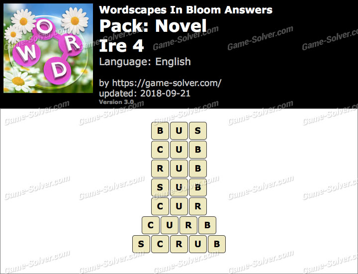 Wordscapes In Bloom Novel-Ire 4 Answers