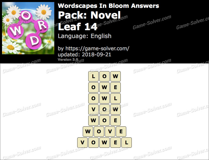 Wordscapes In Bloom Novel-Leaf 14 Answers