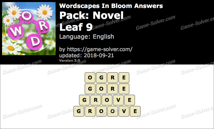 Wordscapes In Bloom Novel-Leaf 9 Answers