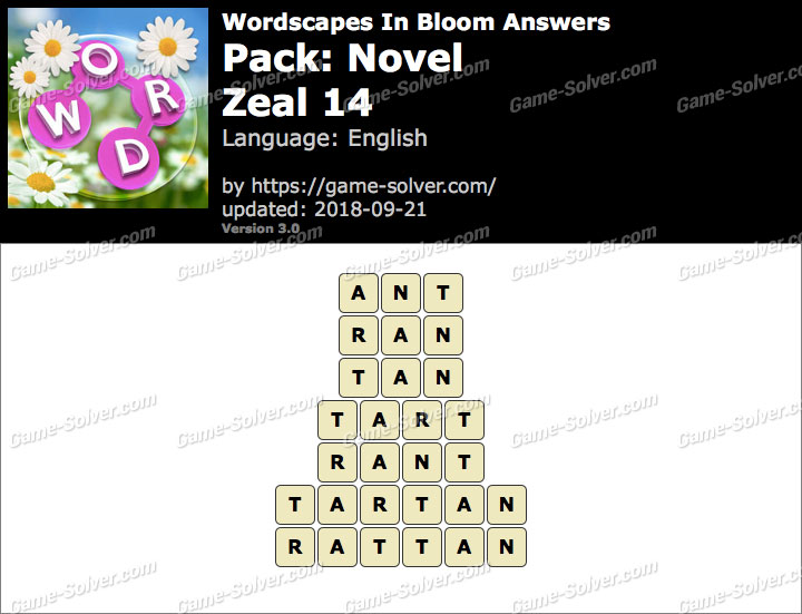 Wordscapes In Bloom Novel-Zeal 14 Answers