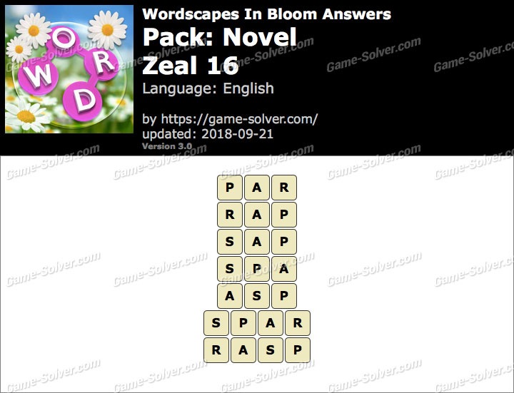 Wordscapes In Bloom Novel-Zeal 16 Answers