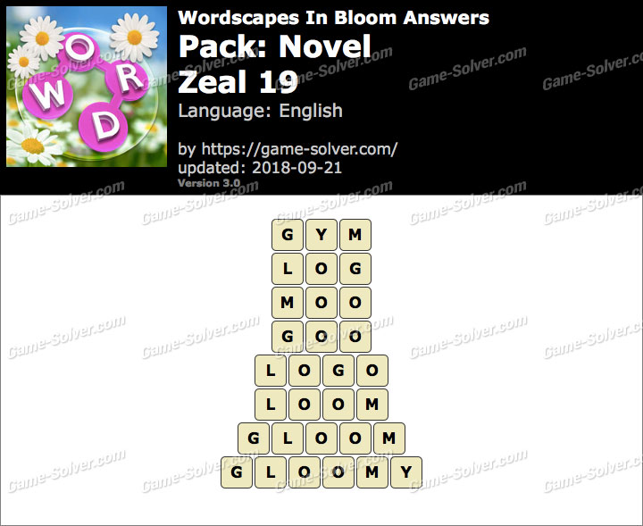Wordscapes In Bloom Novel-Zeal 19 Answers
