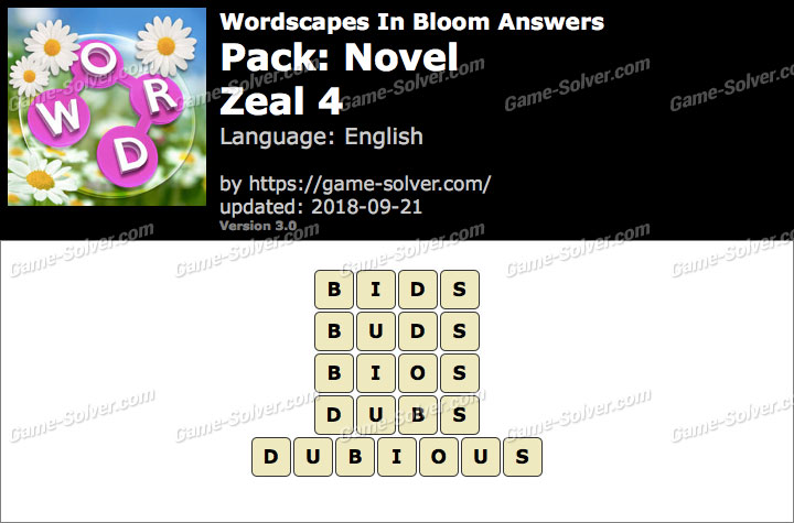 Wordscapes In Bloom Novel-Zeal 4 Answers