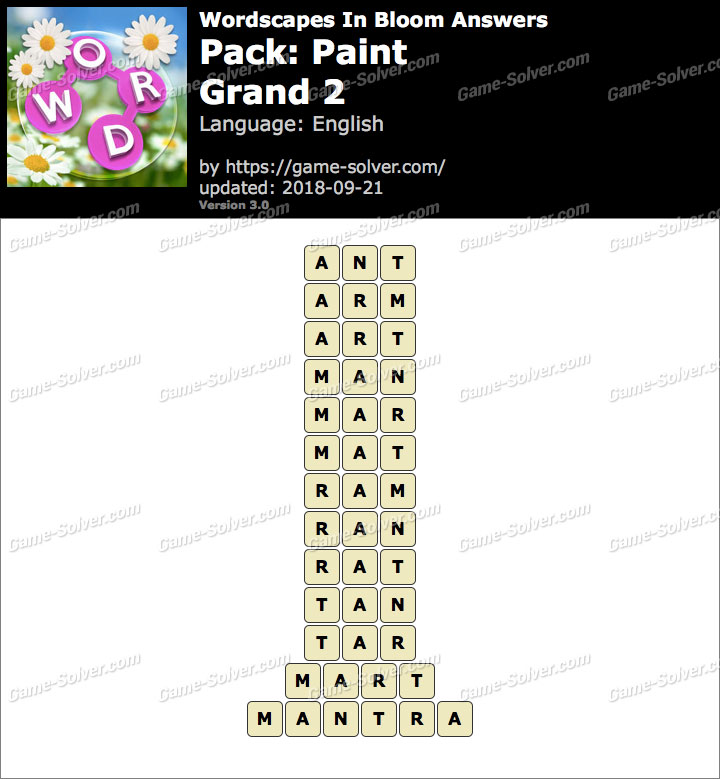 Wordscapes In Bloom Paint-Grand 2 Answers