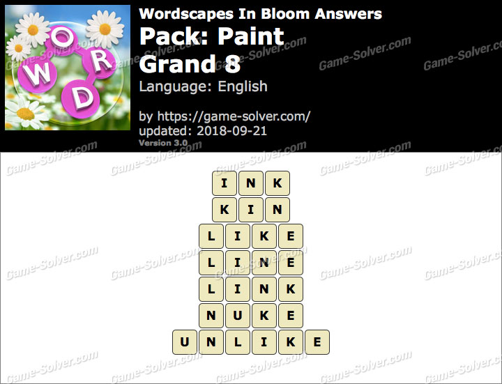Wordscapes In Bloom Paint-Grand 8 Answers