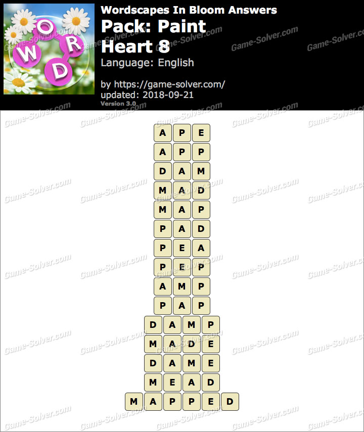 Wordscapes In Bloom Paint-Heart 8 Answers