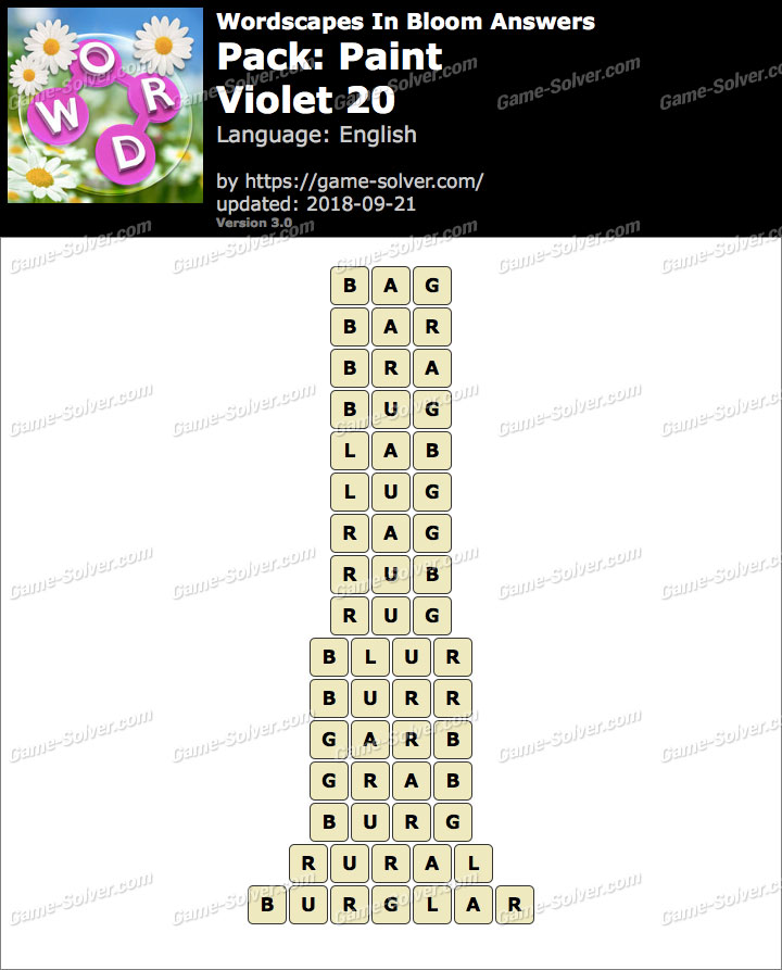 Wordscapes In Bloom Paint-Violet 20 Answers