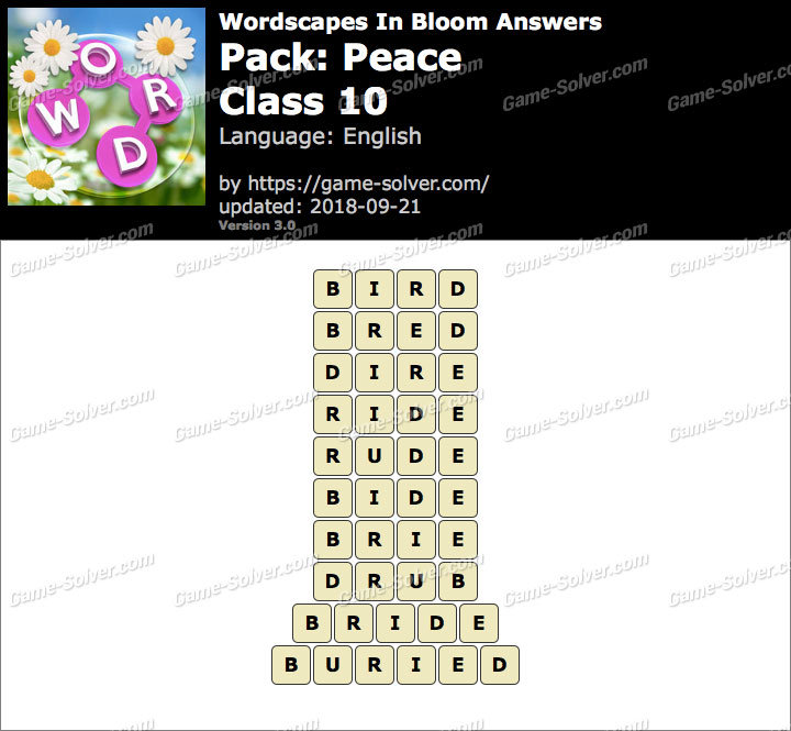 Wordscapes In Bloom Peace-Class 10 Answers