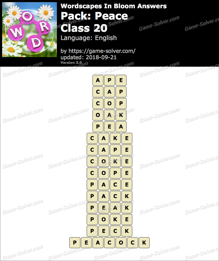 Wordscapes In Bloom Peace-Class 20 Answers