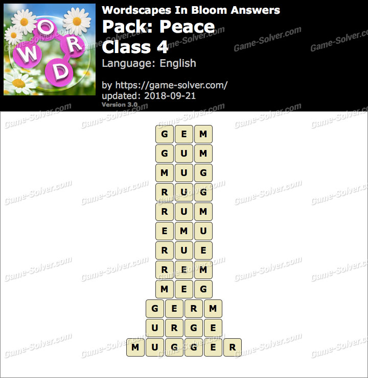Wordscapes In Bloom Peace-Class 4 Answers