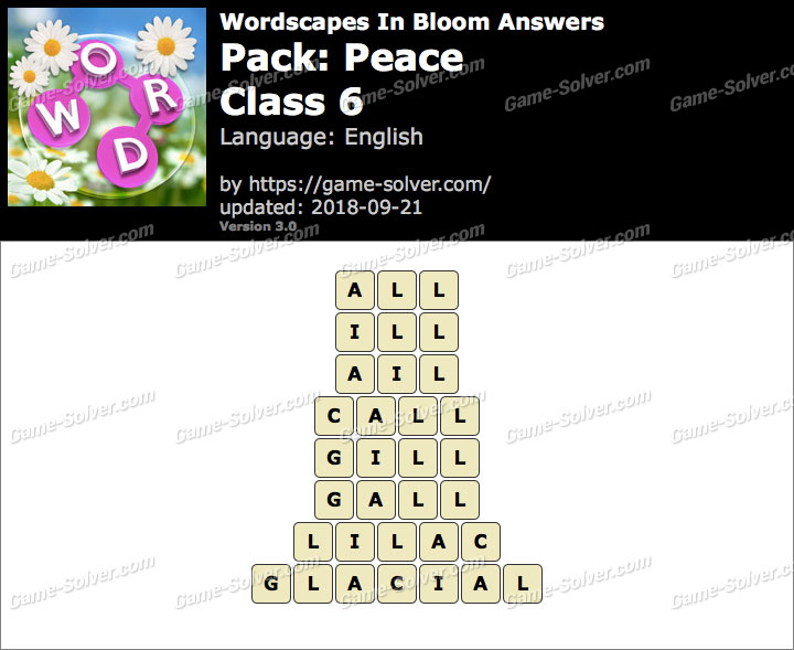 Wordscapes In Bloom Peace-Class 6 Answers