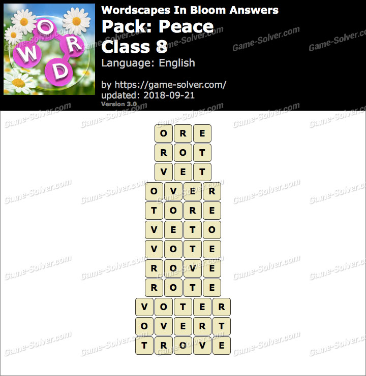 Wordscapes In Bloom Peace-Class 8 Answers