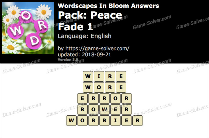 Wordscapes In Bloom Peace-Fade 1 Answers