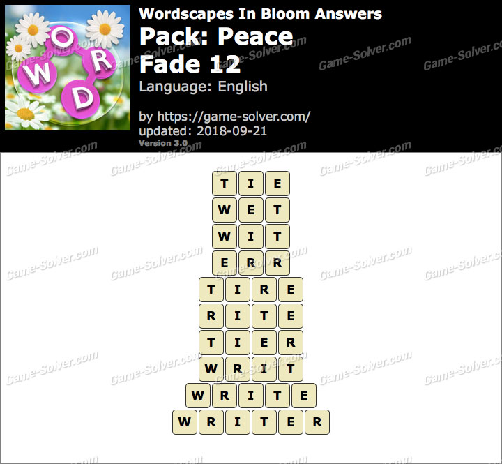 Wordscapes In Bloom Peace-Fade 12 Answers