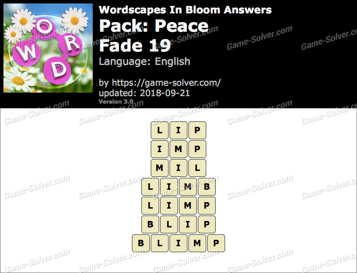 Wordscapes In Bloom Peace-Fade 19 Answers