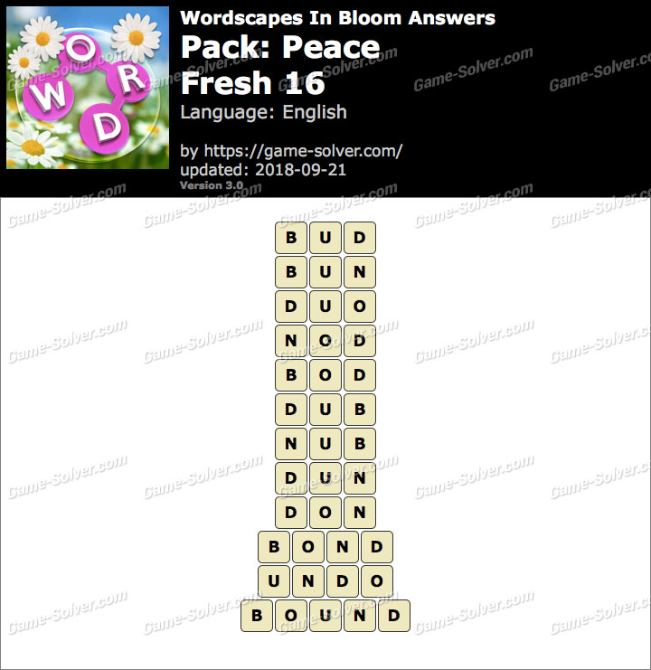 Wordscapes In Bloom Peace-Fresh 16 Answers