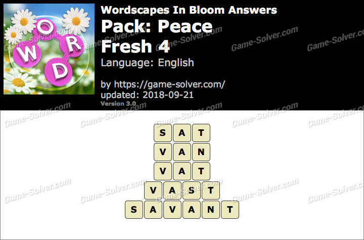 Wordscapes In Bloom Peace-Fresh 4 Answers