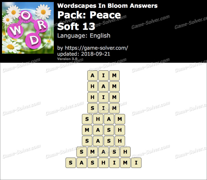 Wordscapes In Bloom Peace-Soft 13 Answers