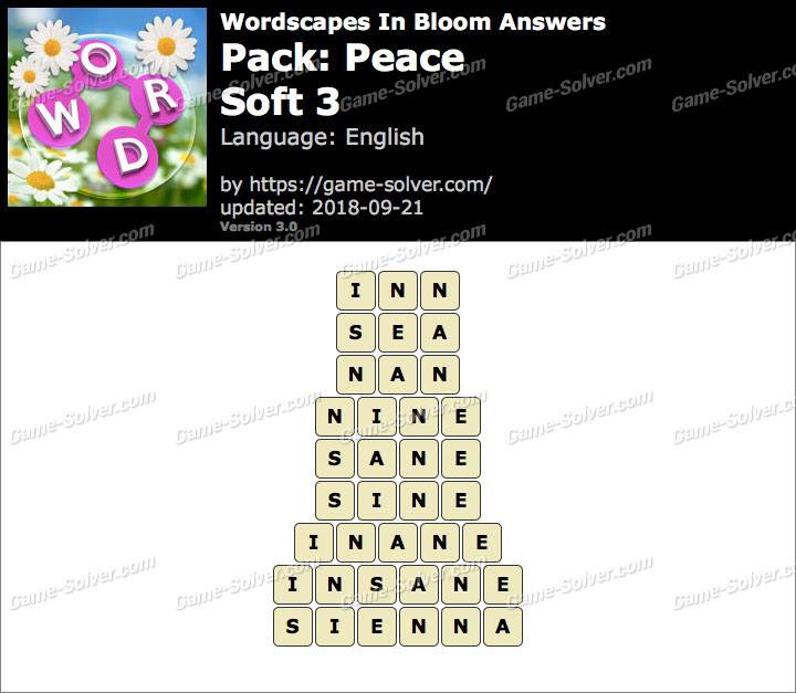 Wordscapes In Bloom Peace-Soft 3 Answers