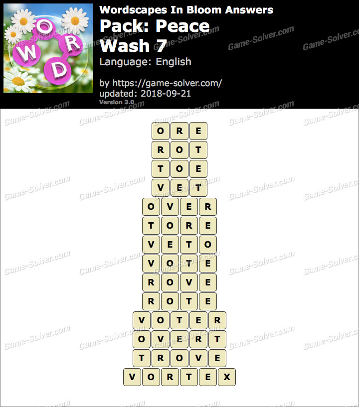 Wordscapes In Bloom Peace-Wash 7 Answers