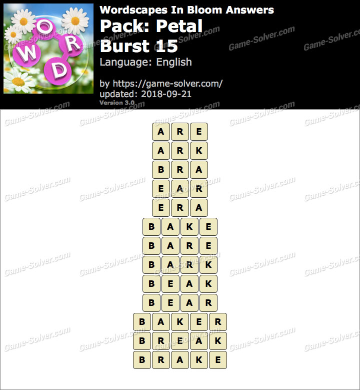 Wordscapes In Bloom Petal-Burst 15 Answers