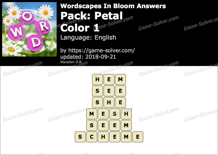 Wordscapes In Bloom Petal-Color 1 Answers