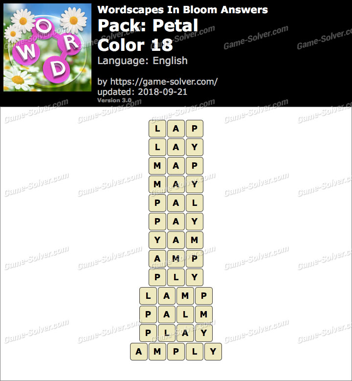 Wordscapes In Bloom Petal-Color 18 Answers