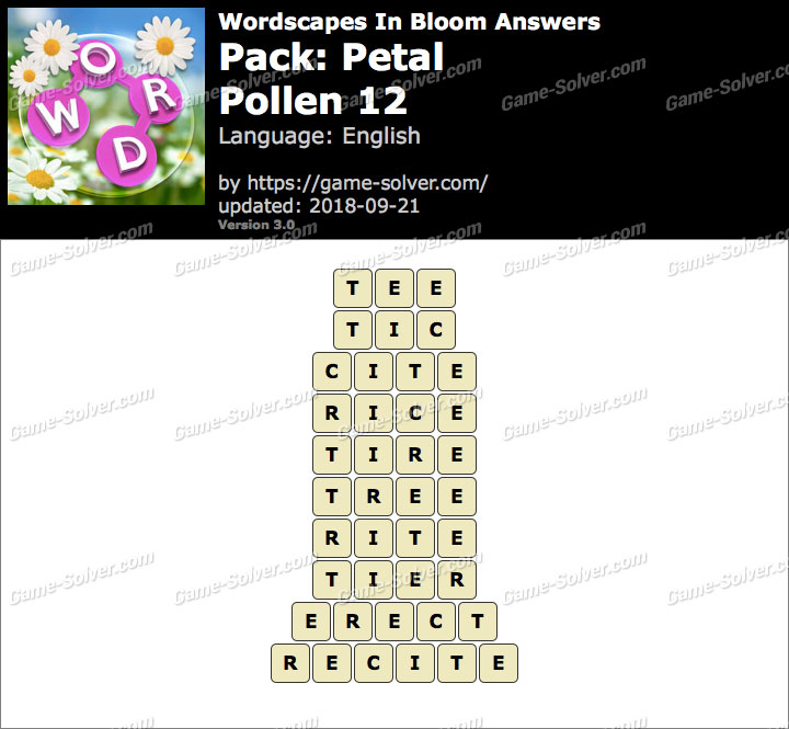 Wordscapes In Bloom Petal-Pollen 12 Answers