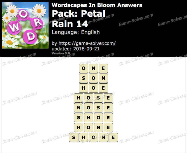 Wordscapes In Bloom Petal-Rain 14 Answers