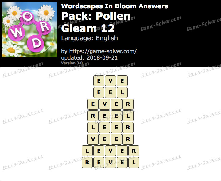 Wordscapes In Bloom Pollen-Gleam 12 Answers