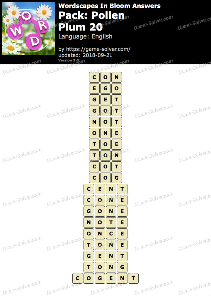 Wordscapes In Bloom Pollen-Plum 20 Answers