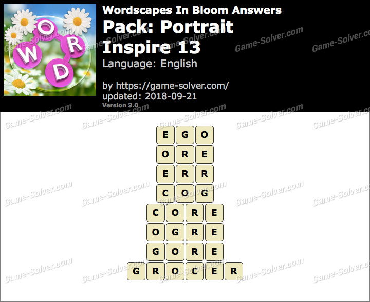 Wordscapes In Bloom Portrait-Inspire 13 Answers