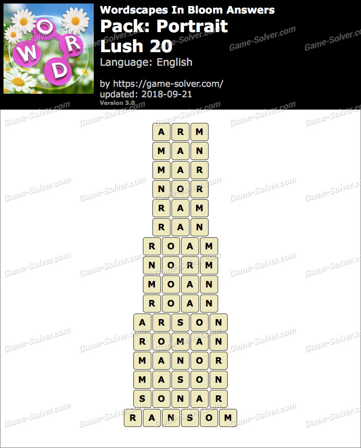 Wordscapes In Bloom Portrait-Lush 20 Answers