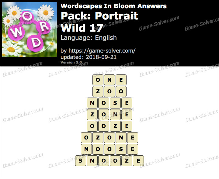 Wordscapes In Bloom Portrait-Wild 17 Answers