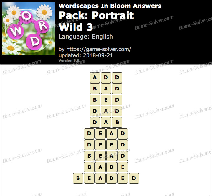 Wordscapes In Bloom Portrait-Wild 3 Answers