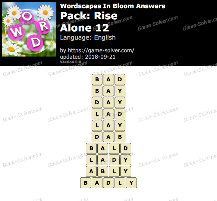 Wordscapes In Bloom Rise-Alone 12 Answers
