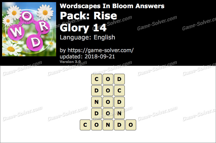Wordscapes In Bloom Rise-Glory 14 Answers