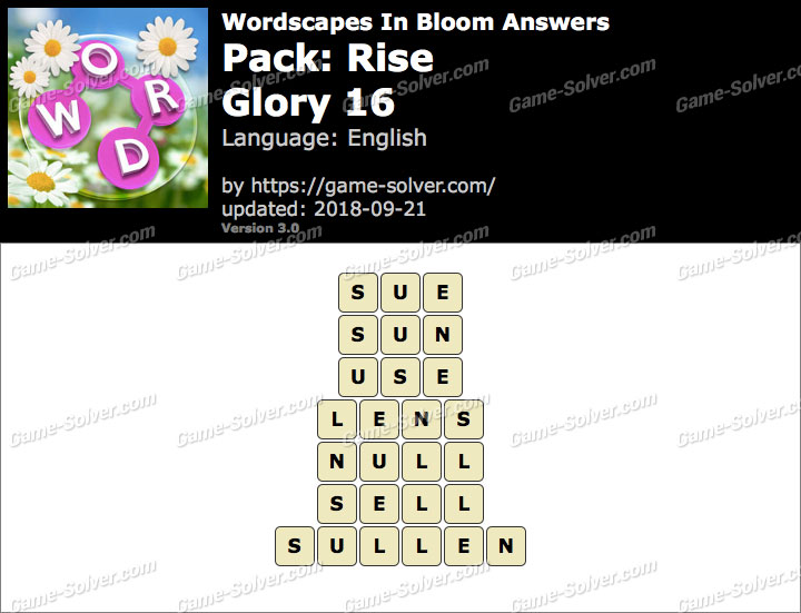 Wordscapes In Bloom Rise-Glory 16 Answers