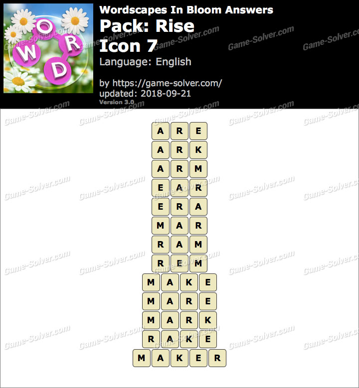 Wordscapes In Bloom Rise-Icon 7 Answers