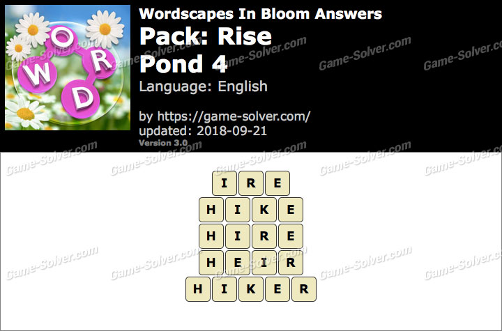 Wordscapes In Bloom Rise-Pond 4 Answers