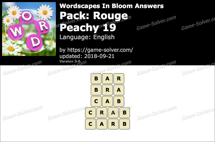 Wordscapes In Bloom Rouge-Peachy 19 Answers