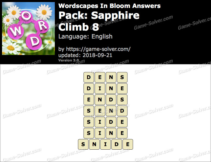 Wordscapes In Bloom Sapphire-Climb 8 Answers