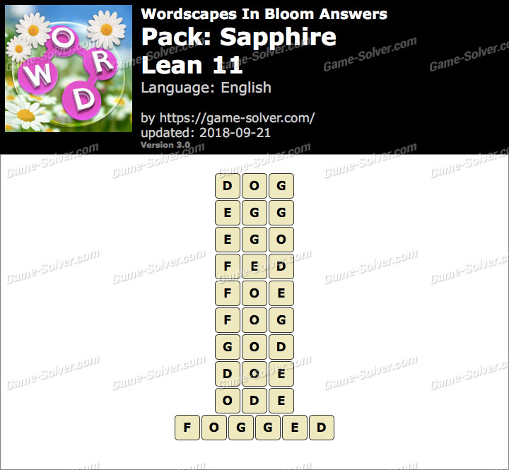 Wordscapes In Bloom Sapphire-Lean 11 Answers