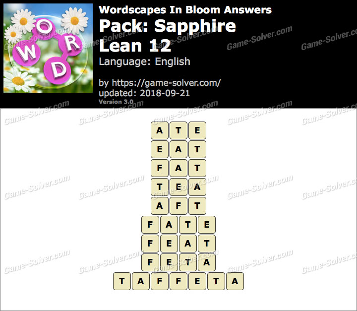 Wordscapes In Bloom Sapphire-Lean 12 Answers