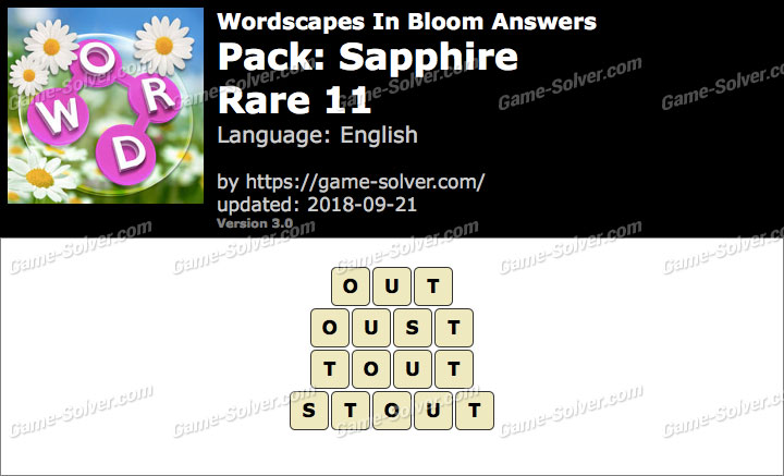 Wordscapes In Bloom Sapphire-Rare 11 Answers